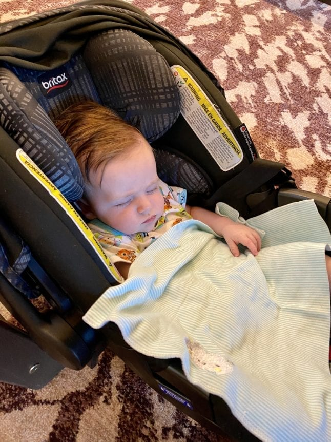 Allow baby to sleep while traveling in their carseat.
