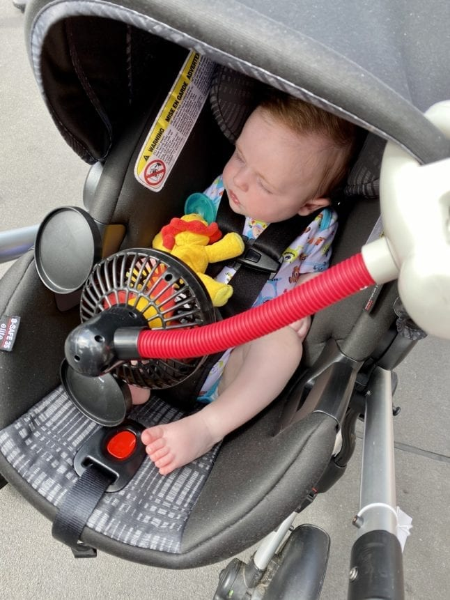 Have a sound machine that travels, like this fan, to help baby sleep on the go.