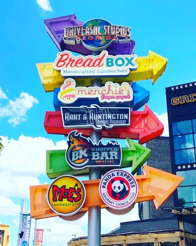 A colorful sign points the way to restaurants at Universal CityWalk