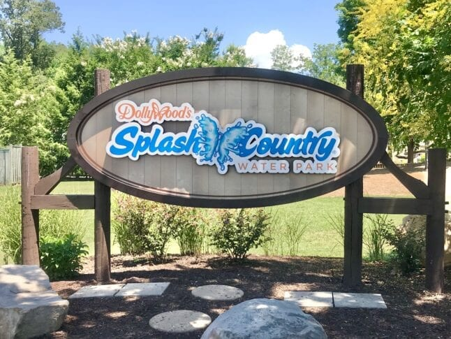 Splash Country Sign at the front of the park. The Dollywood schedule of events says the water park will open May 15.