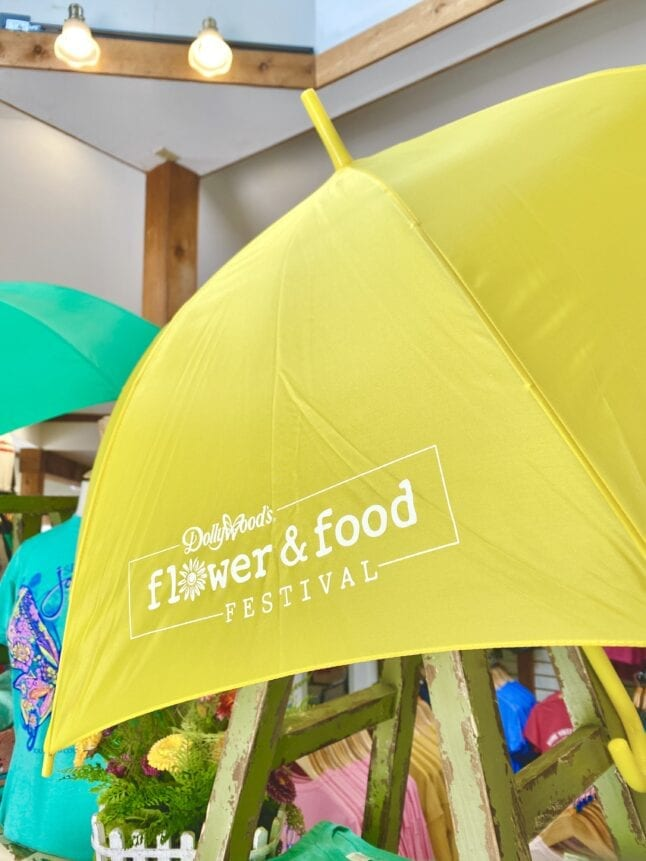 Umbrella with Flower and Food Logo