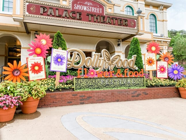Sign for Dollywood Flower and Food Festival