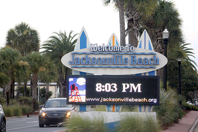 Sign welcoming you to Jacksonville Beach.