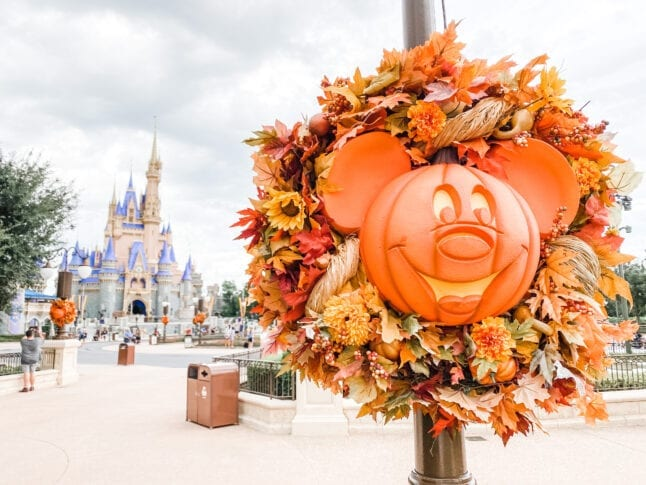 Fall wreath in front of Cinderella Castle at WDW