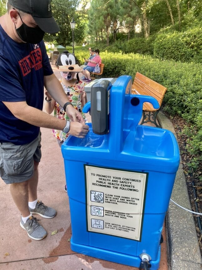 Hand washing station in Epcot