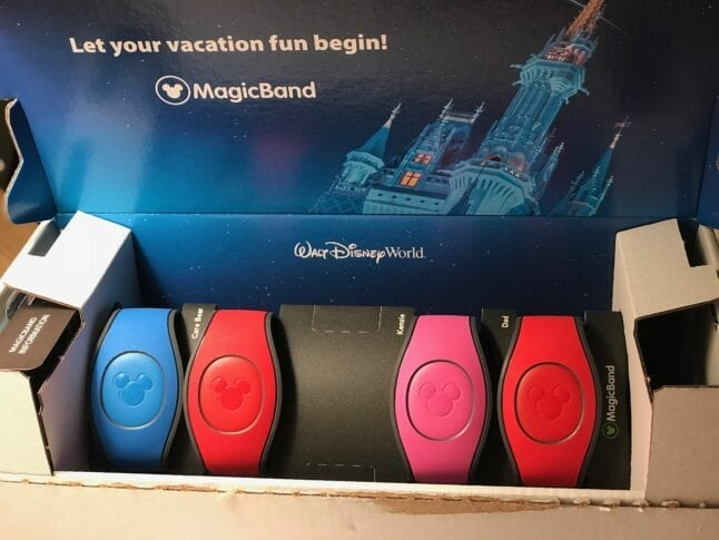 Red, pink, and blue Magic Bands in a box.