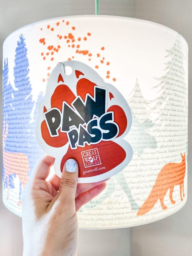 Paw Pass in front of a lamp at Great Wolf Lodge.