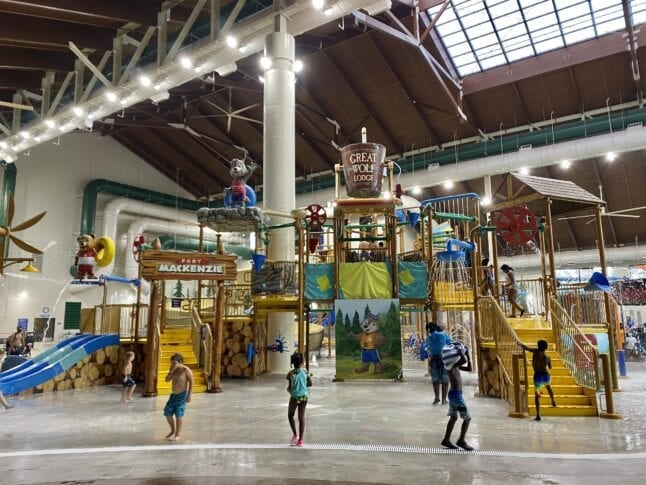 Inside view of Great Wolf Lodge waterpark.