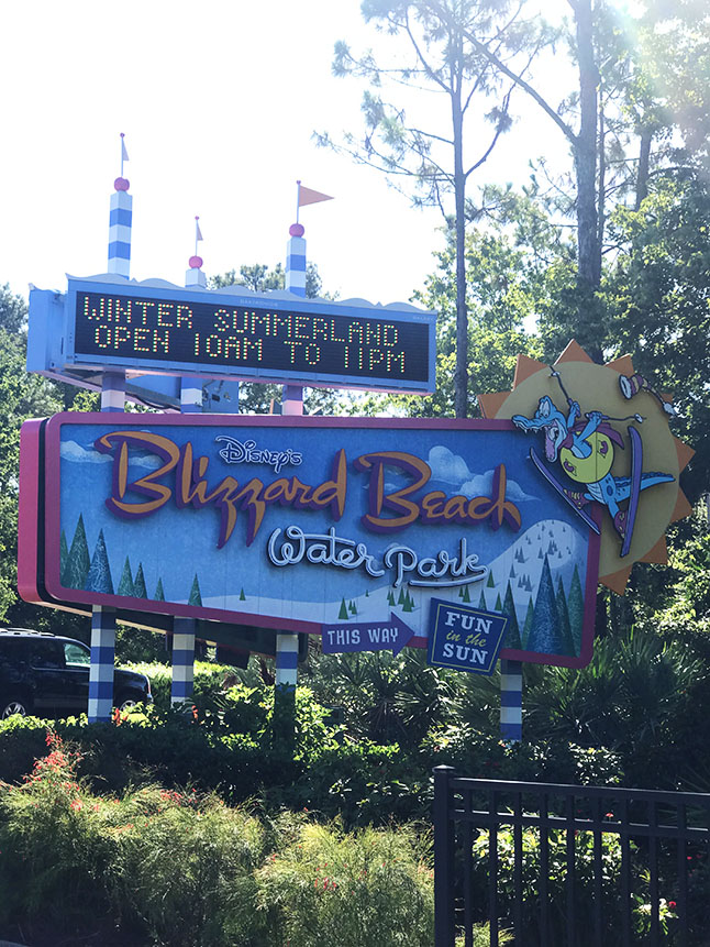 Entrance sign for Blizzard Beach water park
