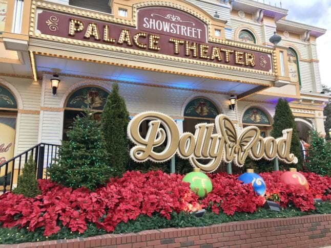 Dollywood Entrance sign decorated for Christmas. Smoky Mountain Christmas is part of this year's Dollywood schedule of events.