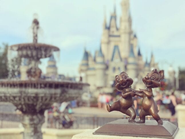 Magic Kingdom fountain with Chip and Dale figure in bronze.