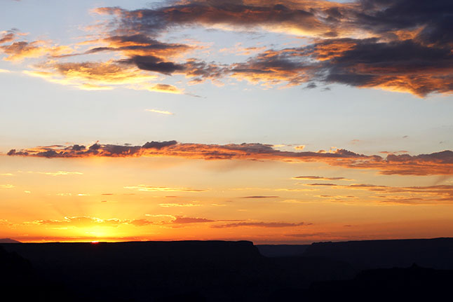 Don't miss sunset at the Grand Canyon. It is a beautiful sight.