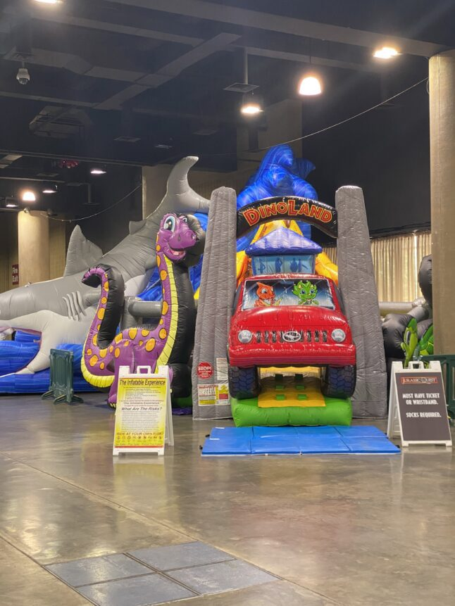 Inflatables are dinosaur themed during the Jurassic Quest experience.