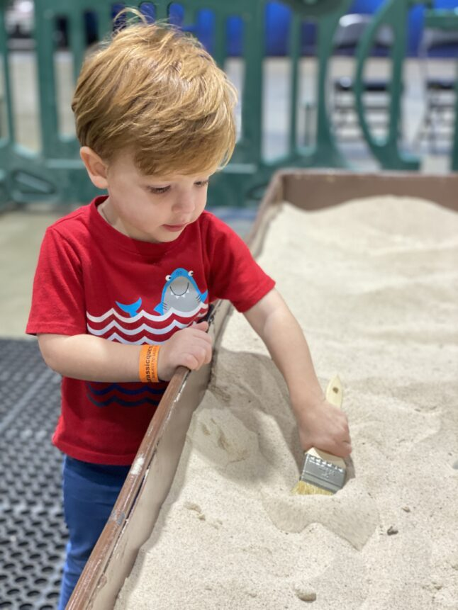 Digging for fossils at Jurassic Quest is fun for kids.
